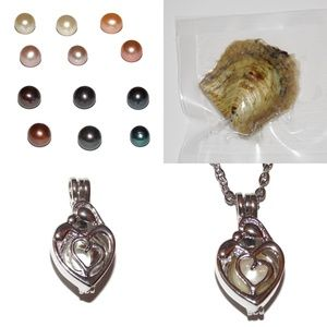 Jewelry - Mother Child Hug Heart Pearl Cage Necklace Kit